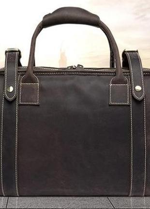 Стильнаякожаная дорожная винтажная коричневая сумка-саквояж ру...