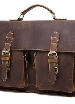 Casual винтажный стильный кожаный портфель мужской коричневый ...