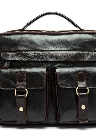 Стильная деловая мужская casual сумка-портфель кожаная винтажн...