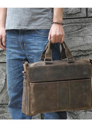 Стильная винтажная мужская casual сумка коричневая ручная работа