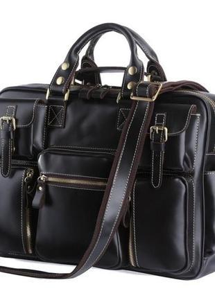 Стильная мужская дорожная кожаная casual вместительная сумка р...