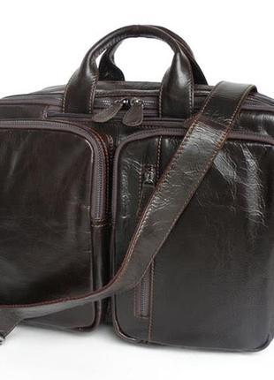 Мужская сумка трансформер рюкзак коричневая кожаная стильная