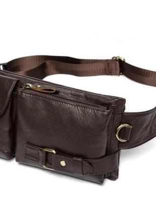 Стильная функциональная сумка на пояс кожаная мужская коричнев...