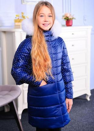 Красивая зимняя синяя длинная куртка в горошек на девочку мех ...