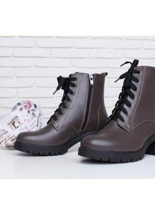 Стильные зимние кожаные женские коричневые ботинки тракторная ...