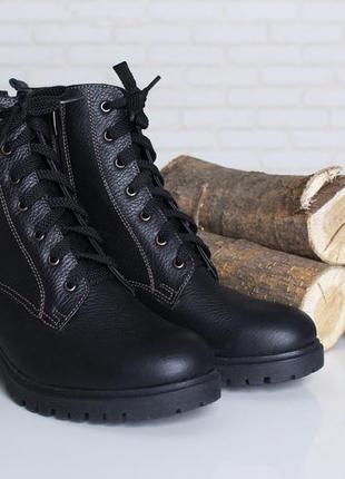 Классные зимние женские  кожаные ботинки черные широкий каблук...