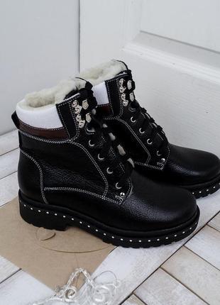 Стильные женские кожаные casual зимние ботинки тракторная подо...