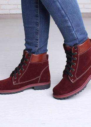 Модные женские замшевые casual зимние бордовые ботинки шнуровк...