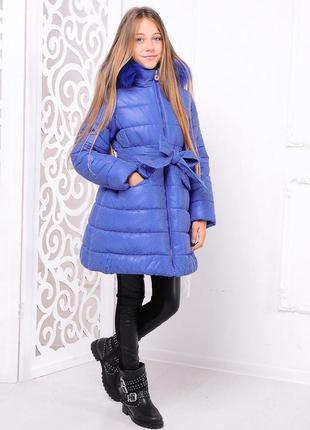 Модная зимняя голубая куртка в горошек с поясом мех на капюшон...