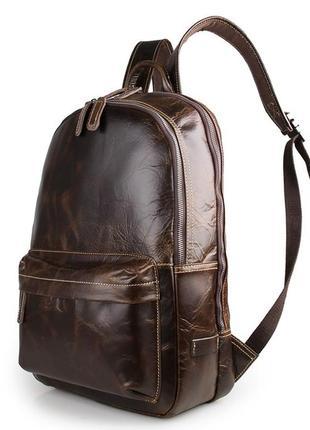 Стильный модный мужской кожаный винтажный коричневый рюкзак 2 ...