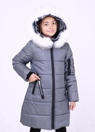 Стильная зимняя серая куртка парка меланж на девочку мех песец...
