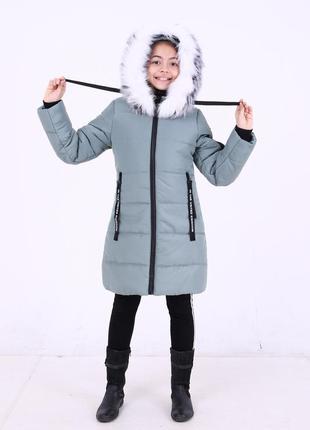 Зимняя серая стильная куртка парка цвет сталь на девочку мех п...
