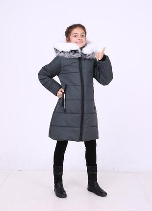 Теплая зимняя серая хаки куртка парка на девочку мех песец на ...