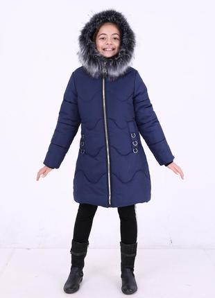 Красивая модная зимняя темно-синяя куртка парка на девочку  ме...