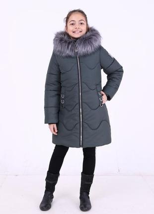Стильная теплая куртка зимняя серая хаки на девочку капюшон с ...