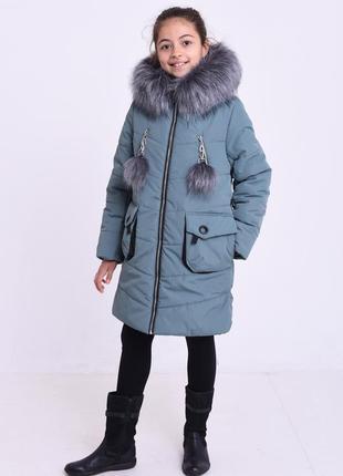 Красивая серая зимняя куртка на девочку капюшон с мехом помпон...