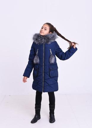 Темно-синяя модная зимняя куртка на девочку капюшон с мехом по...
