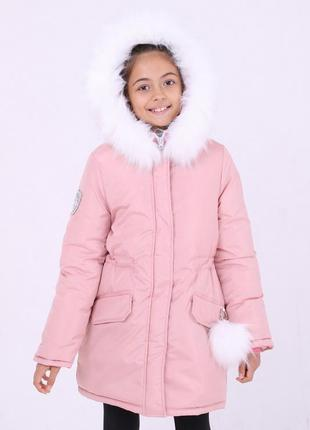 Модная зимняя детская розовая куртка капюшон с белым мехом пом...