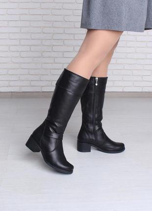 Элегантные модные зимние сапоги на широком каблуке натуральная...