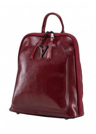 Стильный красный женский 100%  кожаный casual рюкзак ручная ра...