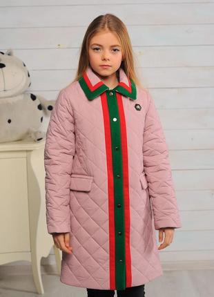 Стильное красивое детское демисезонное пальто на девочку розов...