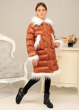 Детская зимняя стильная модная куртка пуховик на девочку мех н...