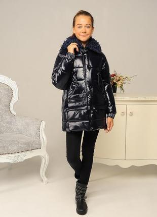 Качественная стильная теплая куртка зимняя на девочку темно-си...