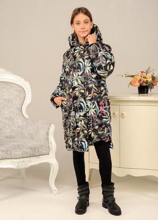 Длинная зимняя красивая модная теплая куртка пуховик на девочк...