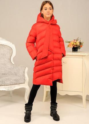 Качественный стильный пуховик красный длинная зимняя куртка на...