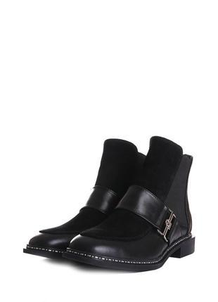 Ботинки челси на резинке женские кожаные замшевые демисезонные...