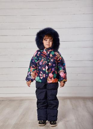 Теплый зимний комбинезон темно-синий комплект куртка и штаны н...