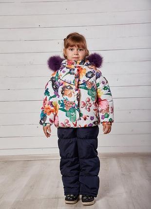 Зимний модный красивый комбинезон на девочку комплект куртка и...