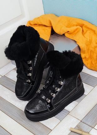 Женские зимние красивые стильные блестящие высокие ботинки на ...