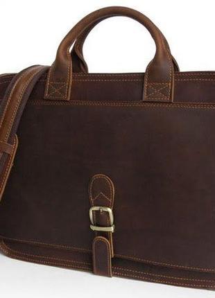 Сумка-портфель мужская кожаная функциональная для ноутбука сти...