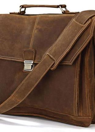 Портфель кожаный мужской стильный винтажный кэжуал вместительн...
