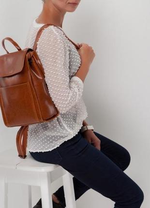 Женский светло-коричневый рыжий рюкзак из натуральной кожи вме...