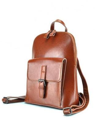 Городской кэжуал рюкзак женский кожаный светло коричневый рыжи...