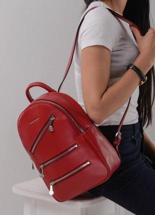 Красный качественный рюкзак женский натуральная кожа стильный ...