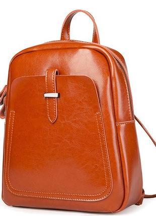 Модный стильный женский кожаный рюкзак светло коричневый рыжий...
