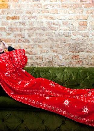 Плед с рукавами теплый зимний качественный красный с рисунком ...