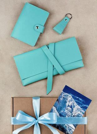 Подарок женский модный стильный респектабельный набор кожаных ...
