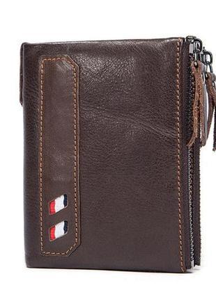 Портмоне кошелек мужской кожаный коричневый стильный модный кэ...