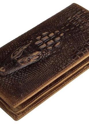 Бумажник кошелек мужской коричневый натуральная кожа под кроко...