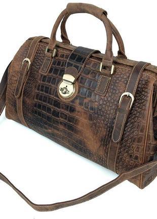 Дорожная сумка саквояж для спортзала кожа под крокодила коричн...