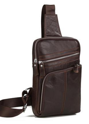 Мужской рюкзак мессенджер слинг одна лямка шлейка кожаный кори...