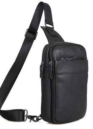 Рюкзак компактный мужской кожаный одна шлейка лямка мессенджер...