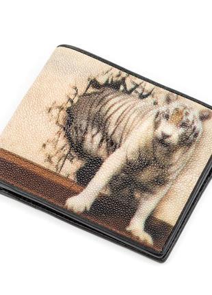 Эксклюзивный мужской кошелек портмоне кожа ската с рисунком ст...