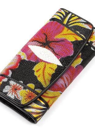 Красивый кошелек женский кожа ската яркий цветочный рисунок пр...