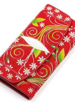 Красивый кошелек женский натуральная кожа ската красный цветоч...