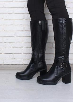 Элегантные,модные зимние сапоги на широком каблуке.вставки реп...